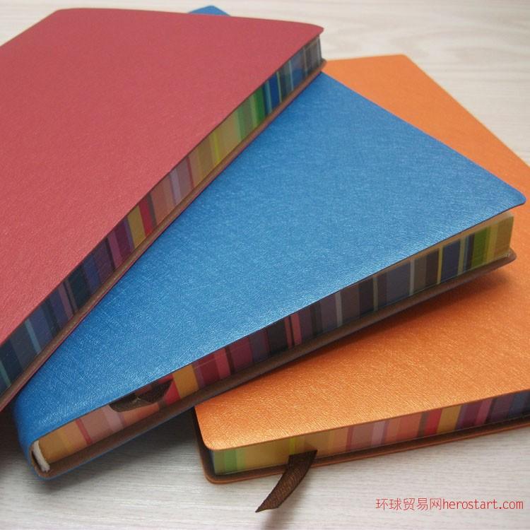 笔记本文具厂家彩色边创意记事本子平装本定制批发