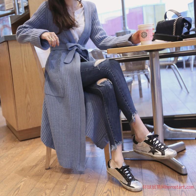 韩版紧身小脚破洞牛仔裤女蓝色高腰铅笔裤