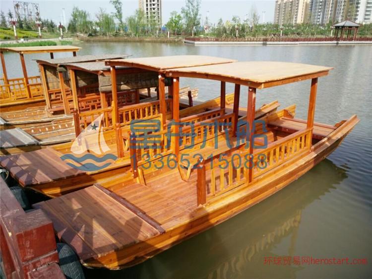 木船 单蓬船 仿古木船 玻璃钢木船 休闲旅游船