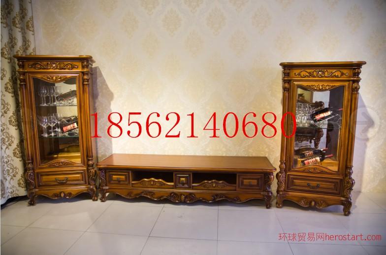 欧式古典奢华风格实木雕花欧式电视柜