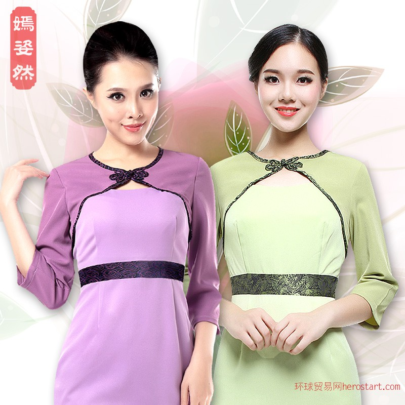 技师工作服美容师工作服套装东南亚风 d019短裙