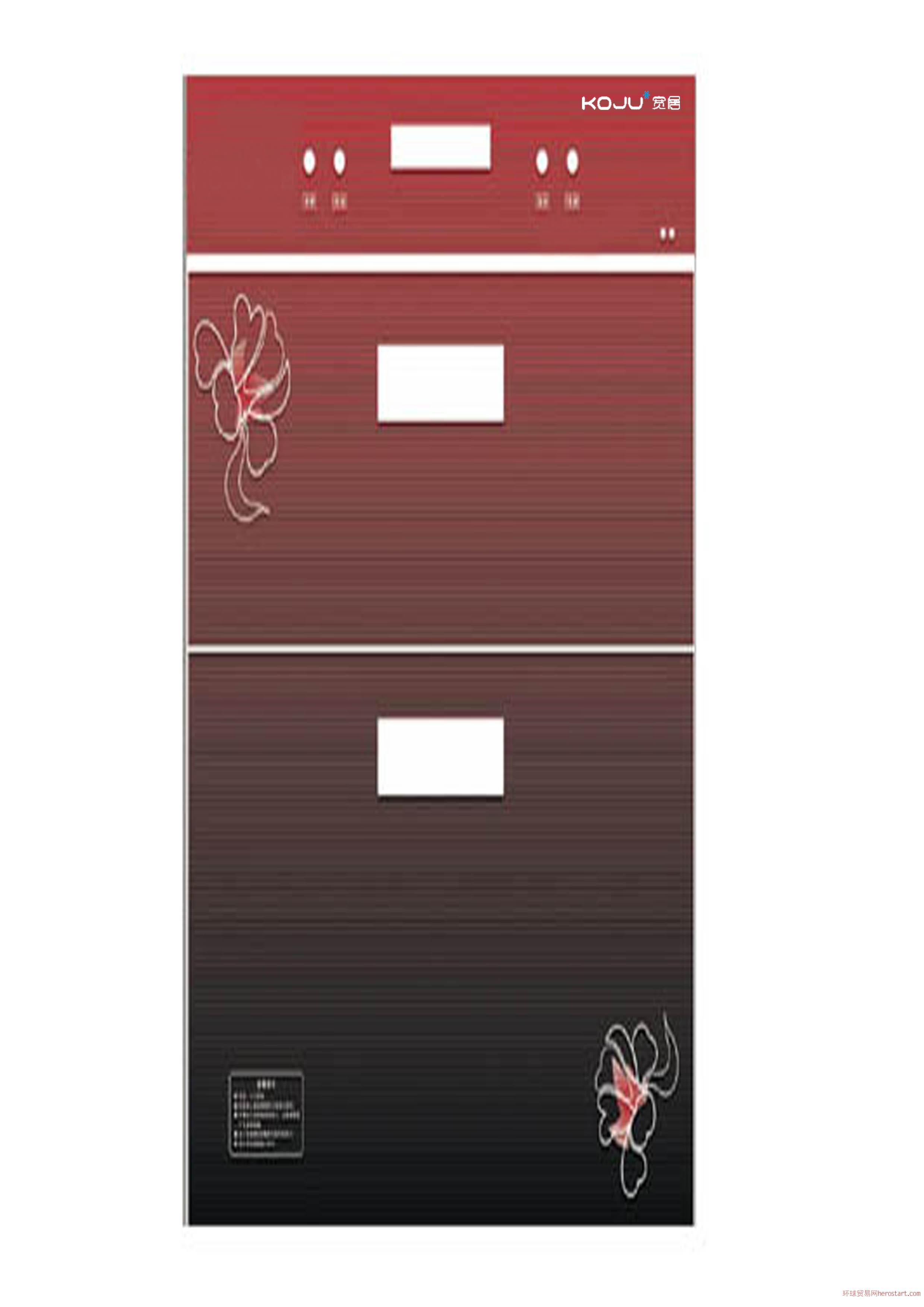 宽居电器-红色钢化玻璃面板内嵌拉手消毒柜