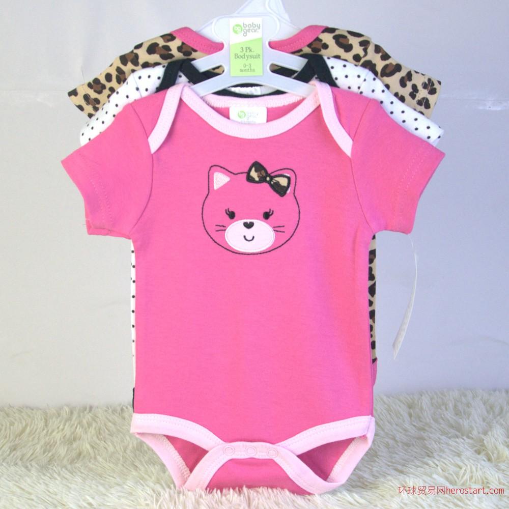 河南婴儿外贸服装套装青蛙装哈衣爬服批发