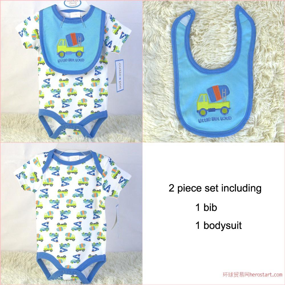 供应婴儿双层纯棉口水巾短袖三角哈衣两件套外贸原单