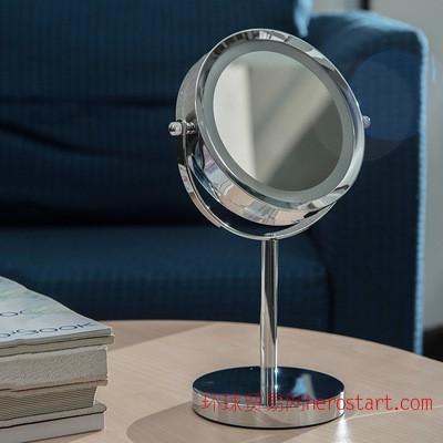6寸7寸LED灯镜 不锈钢化妆镜 化妆镜台式双面放大镜梳妆镜