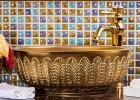 景德镇陶瓷艺术台上盆现代简约洗手盆面盆欧式金色圆形洗脸盆