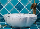 景德镇陶瓷艺术台盆酒店卫生间洗脸盆洗手盆描蓝花瓣圆形台上盆