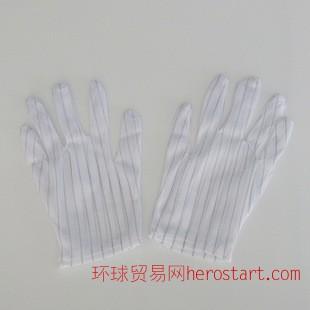 防静电手套双面条纹防静电点塑无尘手套PU手套 单只价格
