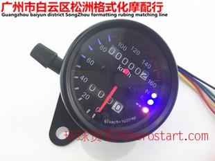外贸摩托车改装双里程表复古里程表公里表仪表带led指示灯带夜光