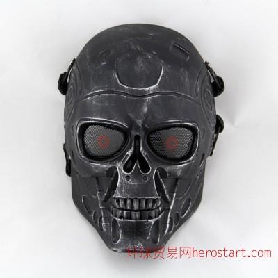 DC-10終結者騎行面具 野戰CS防護面罩 骷髏面具 金屬質感面具