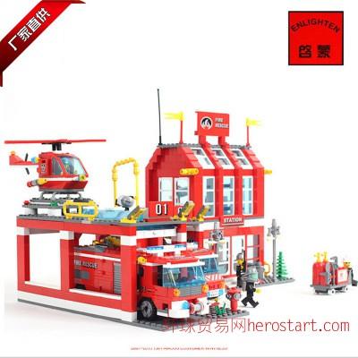 乐高启蒙式拼插玩具消防局消防车系列乐高式小颗粒积木组装模型