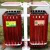 木质防腐环保双筒垃圾箱