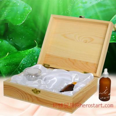 化妆品礼盒包装盒 松木原色雕刻整理包装盒木盒加工定做