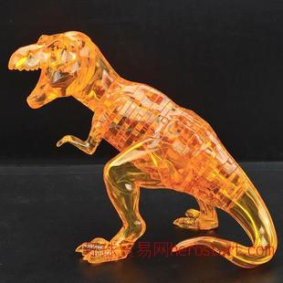 新款自装恐龙积木 益智DIY组装玩具领智3D立体暴龙水晶拼
