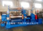 青岛鑫城双辊筒带翻胶装置电动调距400橡胶炼胶机