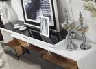 时尚客厅家具钢化玻璃桌面大理石台面钢琴烤漆可伸缩电视柜A51
