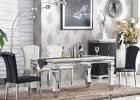 简约时尚经典客厅家具钢化玻璃桌面大理石台面不锈钢餐台V38