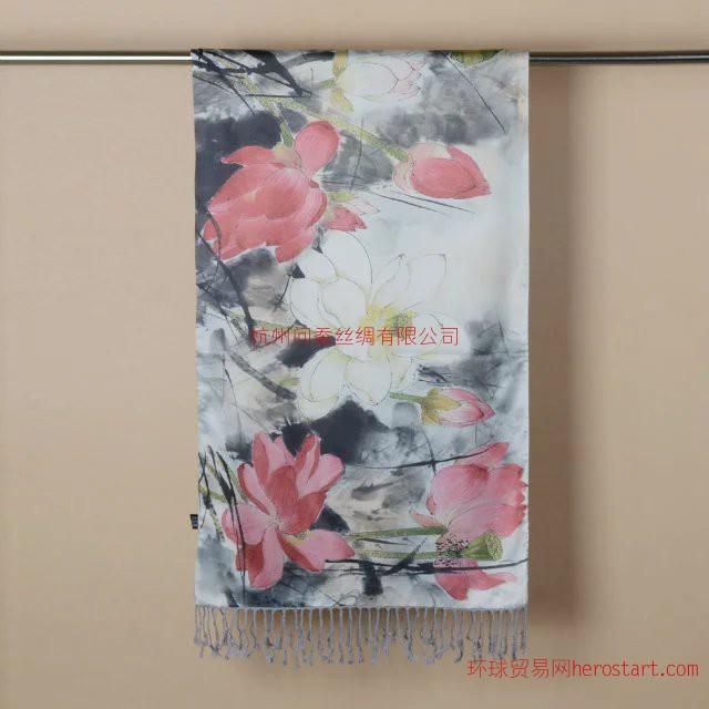 圍巾荷花圖案絲綢披肩送禮—真絲絲巾定制