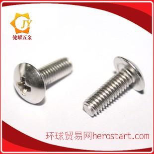 304不锈钢大扁头十字机牙螺丝 蘑菇头螺钉
