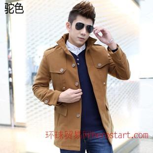 新款韩版修身加厚立领羊毛男士冬季毛呢大衣