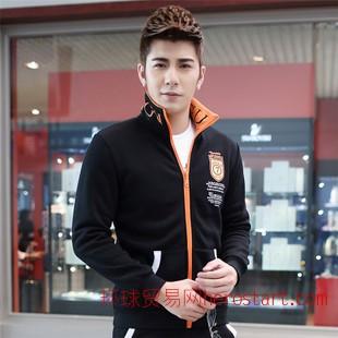 爆款2014新款韩版时尚修身运动休闲男装外套加绒套装卫衣