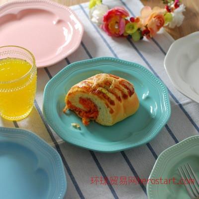 新骨瓷餐盘甜心蛋糕水果盘 8寸 北欧风格 五色梅花盘