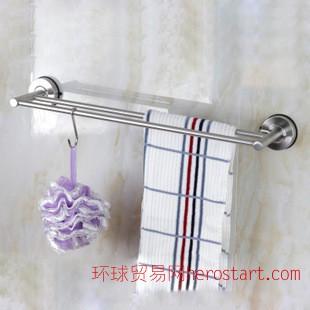 超强真空吸盘晾衣浴室毛巾杆304不锈钢挂钩双杆55cm包邮