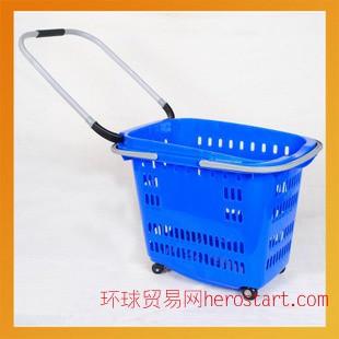 购物篮 拉杆式购物篮 带轮购物篮 超市塑料购物篮