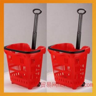 超市专用塑料购物篮 手拉式带轮购物篮 厂家订做