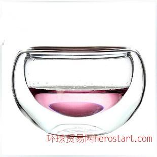 加工定做双玻璃茶具 真空品茶杯双层防烫水杯 耐热玻璃茶杯品茗