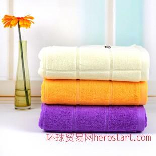 高阳毛巾厂家直销  素色方块纯棉提花32股浴巾 酒店超市 包邮