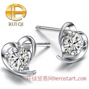 淘宝爆款热卖韩版S925银爱心耳钉 ,时尚潮流瑞琦纯银耳钉