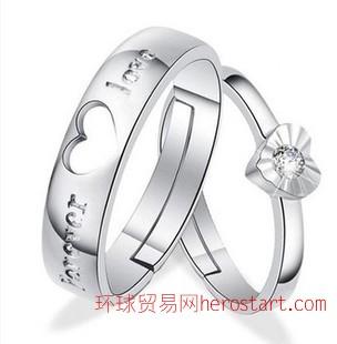 S925银开口情侣戒指 创意男女活口对戒 韩版饰品戒子 爆款饰品