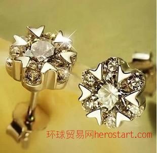 一好 925纯银耳钉女韩国韩版 雪花耳环 耳钉 气质女雪舞耳钉