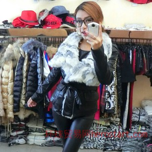 欧洲站2014冬装新款 加厚长袖翻领兔毛拉链修身 短款PU皮衣女外套