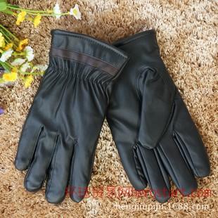 男士冬季保暖手套 pu皮革羊毛里电动车专用手套地摊新品