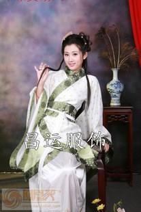 女士白花布漢服小曲裾深衣古裝華服唐裝漢式婚禮古代影樓演出服裝
