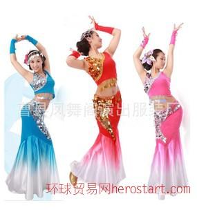 新款女裝傣族服裝舞蹈服裝魚尾裙舞臺民族服裝秧歌演出服