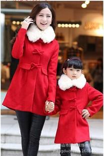女童时尚外套冬季新品 韩国亲子装 呢子大衣 呢子风衣 一件代发