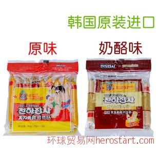 韩国海地村鳕鱼肠90g(10gx9)原味/奶酪味 真珠大力士DHA宝宝香肠