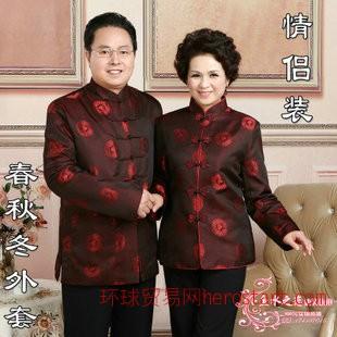 新款春秋季中老年情侣装 男女长袖唐装 爸妈过大寿婚宴工作服