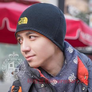 男士帽子 韩版潮双面加厚保暖套头针织帽北脸秋冬护耳一件代发