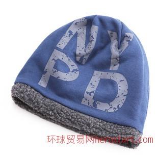 双层加厚粗绒冬季帽子 男 冬天护耳毛线帽针织帽 NY 大颗粒抓绒