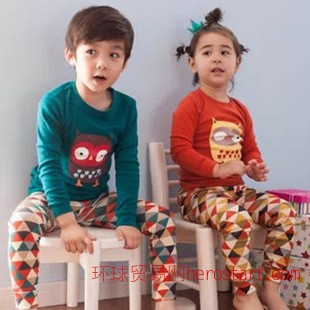 秋冬季品牌儿童外贸家居服 猫头鹰长袖 缤纷三角纯棉秋款童套装
