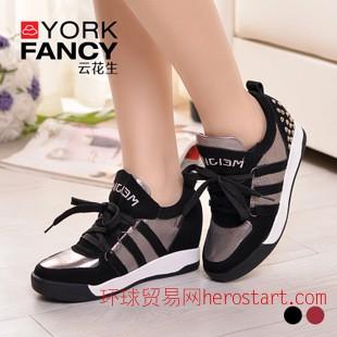 2014秋季新款 女潮休閑厚底運動 跑球鞋女鞋內增高平底單鞋淘