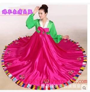 2014新款朝鮮服裝 朝鮮女士服裝 朝鮮族舞蹈服裝女 大擺裙表演服