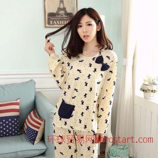 春秋季新款女士睡衣 秋冬韩版可爱卡通长袖睡衣女家居服套装