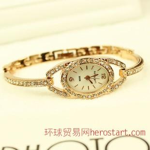 五玥天韩国时尚土豪金镶钻手表女款 潮流满钻石英表钢带表