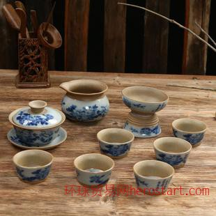 粗陶功夫陶瓷茶具套装台湾全手工紫砂壶陶土复古马年
