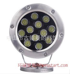曼的led大功率水底灯12*1w 单色 质保两年 喷泉灯